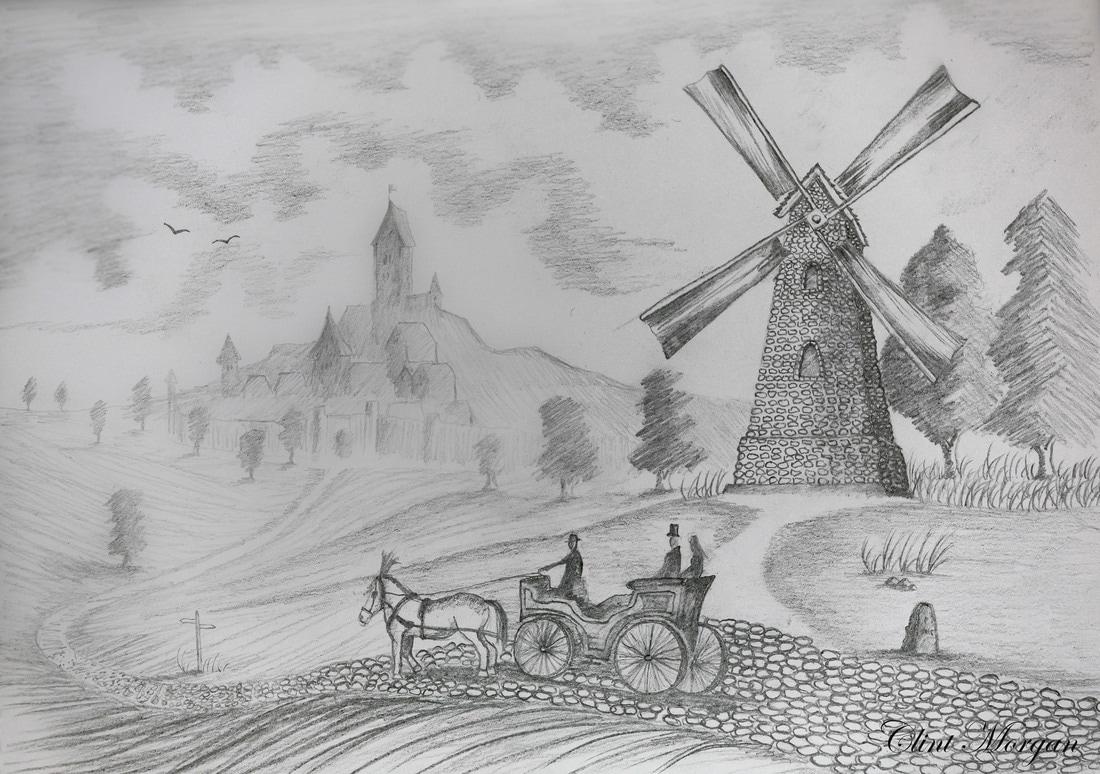 Imaginary landscape drawing